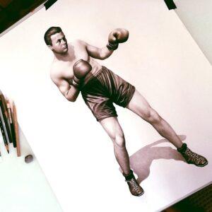 نقاشی بوکسر با مداد؛ هنرمند: Morgan Davidson