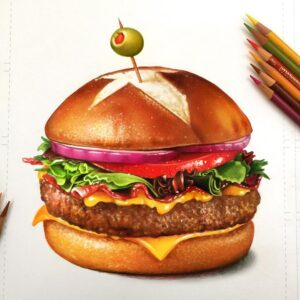 نقاشی غذا با مداد رنگی؛ هنرمند: Morgan Davidson