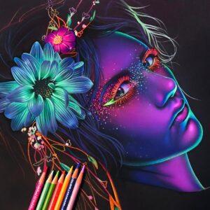 نقاشی چهره فانتزی با مداد رنگی؛ هنرمند: Morgan Davidson