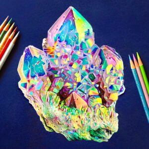 نقاشی سنگ کریستالی با مداد رنگی؛ هنرمند: Morgan Davidson
