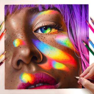 نقاشی چهره با مداد رنگی؛ هنرمند: Morgan Davidson