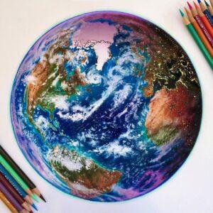 نقاشی کره زمین با مداد رنگی؛ هنرمند: Morgan Davidson