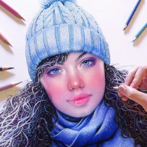 نقاشی چهره انسان با استفاده از مداد رنگی