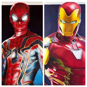 نقاشی مرد عنکبوتی و مرد آهنی