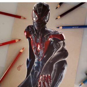 نقاشی مرد عنکبوتی مشکیبا استفاده از مداد رنگی