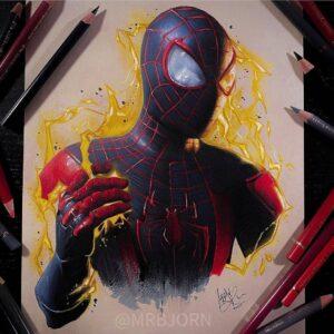 نقاشی مرد عنکبوتی مشکی با استفاده از مداد رنگی