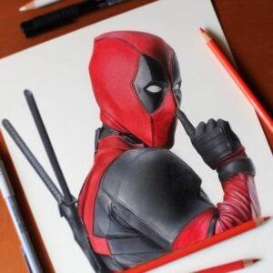 نقاشی ددپول با استفاده از مداد رنگی