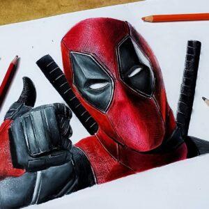 نقاشی چهره ددپول با مداد رنگی