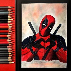 نقاشی ددپول با مداد رنگی