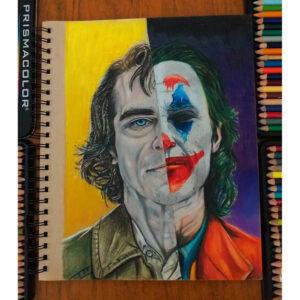 نقاشی چهره جوکر و خواکین فینیکس با استفاده از مداد رنگی
