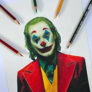 نقاشی جوکر خواکین فینیکس با استفاده از مداد رنگی