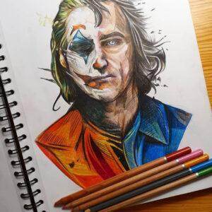 نقاشی ترکیبی چهره جوکر و خواکین فینیکس با استفاده از مداد رنگی
