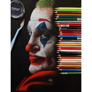 نقاشی جوکر خواکین فینیکس با مداد رنگی