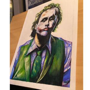 نقاشی جوکر هیت لجر با استفاده از مداد رنگی