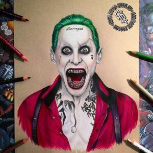 نقاشی جوکر با استفاده از مداد رنگی