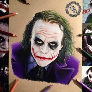 نقاشی صورت جوکر (کریستوفر نولان) با استفاده از مداد رنگی