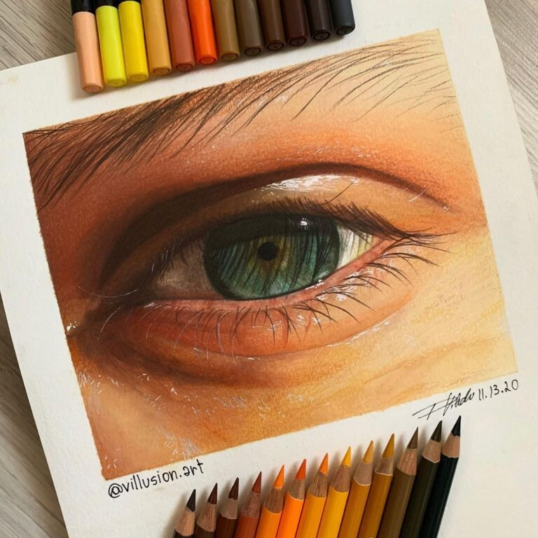 نقاشی چشم با استفاده از مداد رنگی