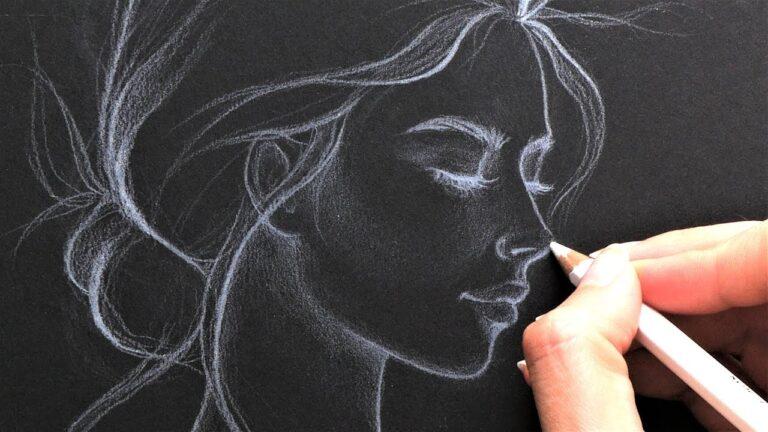 نقاشی صورت با مداد رنگی سفید روی کاغذ سیاه