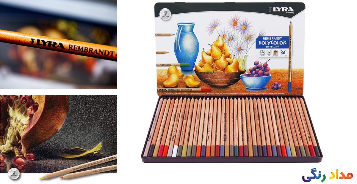 مداد رنگی 36 رنگ لیرا مدل پلی کالر