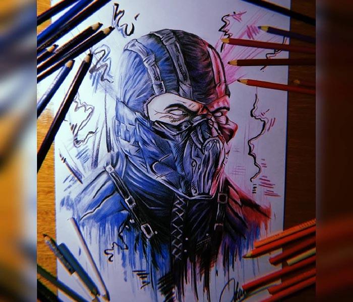 نقاشی ساب زیرو با استفاده از مداد رنگی