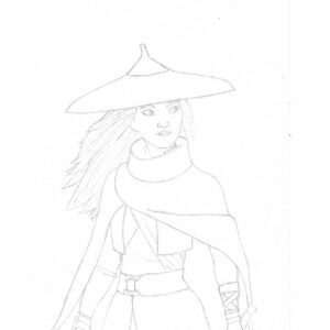 طرح نقاشی ساده رایا از فیلم رایا و آخرین اژدها