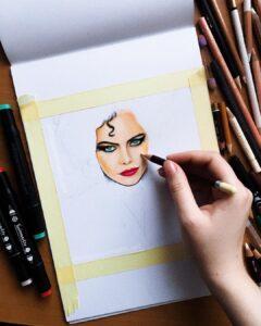 نقاشی کروئلا با استفاده از مداد رنگی