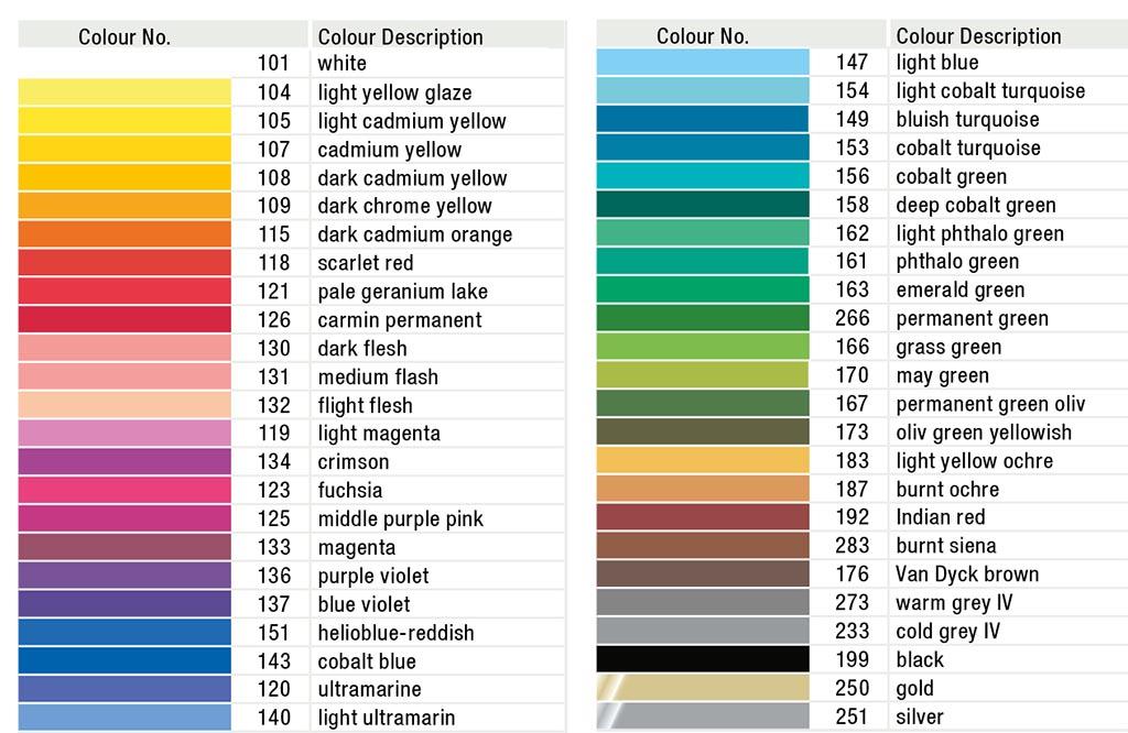 کاتالوگ رنگهای فابر کاستل گلد فابر 48 رنگ