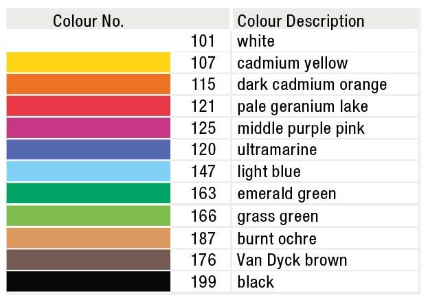 کاتالوگ رنگ های مداد رنگی فابر کاستل گلد فابر 12 رنگ